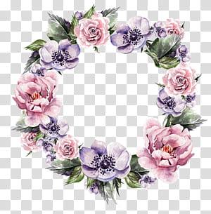 Guirlanda de flores Convite de casamento Guirlanda Pintura em aquarela, guirlandas de flores pintadas à mão, grinalda floral roxa e rosa PNG clipart