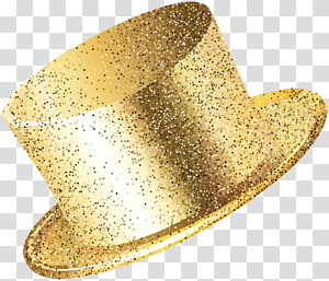ilustração de chapéu de cor dourada, festa de ano novo chapéu ouro png