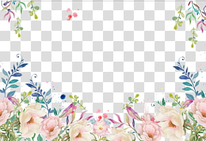 Quadro decorativo floral, flores rosa e brancas png