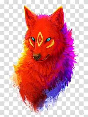 ilustração de lobo vermelho, arte digital de desenho de cachorro, lobo png