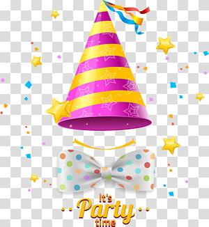 chapéu de festa rosa e amarelo com ilustração de arco, chapéu de festa aniversário, chapéus de aniversário PNG clipart