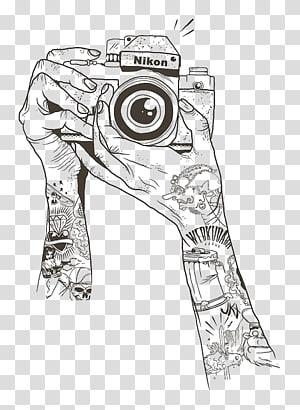 Nikon camera illustration, Drawing Camera Sketch, gráfico PNG clipart