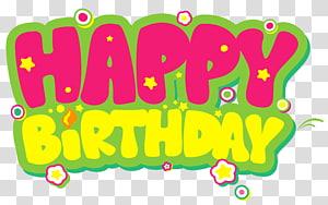 Bolo de aniversário, feliz aniversário amarelo e rosa, ilustração de feliz aniversário png