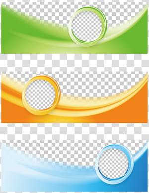 Web banner Flyer, Tricolor Business Banner, colagem de quadros verde, laranja e azul PNG clipart