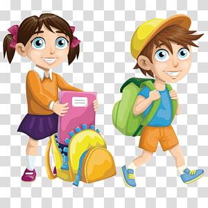 Escola euclidiana, crianças em idade escolar felizes, menina e menino indo para personagens de desenhos animados de escola PNG clipart