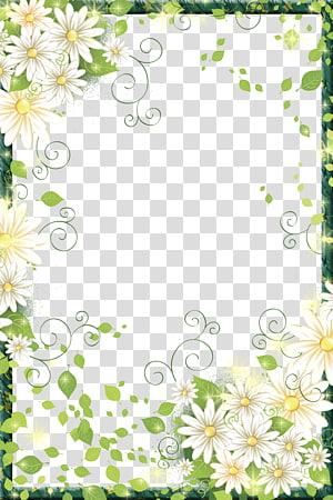 quadro floral verde e branco, quadro de flores de fronteira Moldura digital, quadro de fronteira de belas flores png