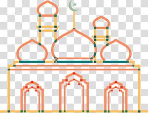 ilustração de mesquita marrom e laranja, mesquita islâmica de ano novo, arquitetura islâmica de linha laranja PNG clipart