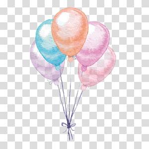 Balão Pintura em aquarela, balões coloridos, ilustração de cinco balões de cores sortidas PNG clipart