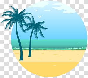 Férias de verão férias euclidiana, decoração do mar de verão, ilustração de dois coqueiros png