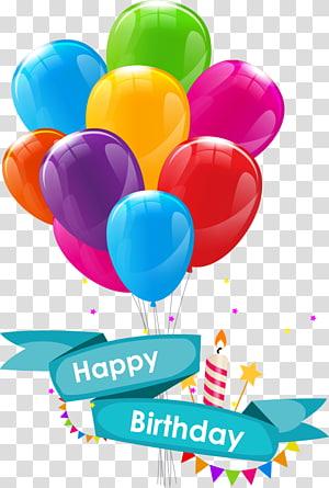 Feliz aniversário ilustração, convite de casamento feliz aniversário para você cartão de felicitações, desenhos animados balões de aniversário PNG clipart