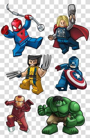 Seis ilustrações de Lego de super-heróis, Lego Marvel Super Heroes Wolverine Deadpool Lego Marvel Avengers Avengers, St Patricks Day Poster png