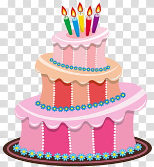 Bolo de aniversário, bolo de aniversário rosa, ilustração de bolo de aniversário rosa e multicolorido png