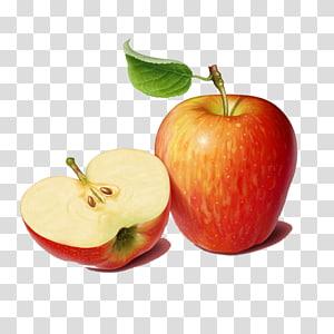 maçã vermelha e fatia de maçã vermelha ilustração, salada de frutas de suco png