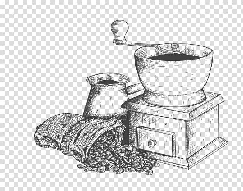 moedor manual cinza, café café Caffxe8 mocha bebida, esboço preto moagem dispositivo de café png