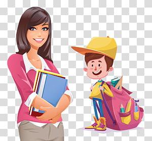 duas ilustrações de estudante de caráter masculino e feminino, ilustração de faculdade de estudante, professor aluno PNG clipart