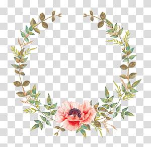 grinalda da grinalda do convite da flor do convite do casamento, flor da aguarela, grinalda verde e cor-de-rosa PNG clipart