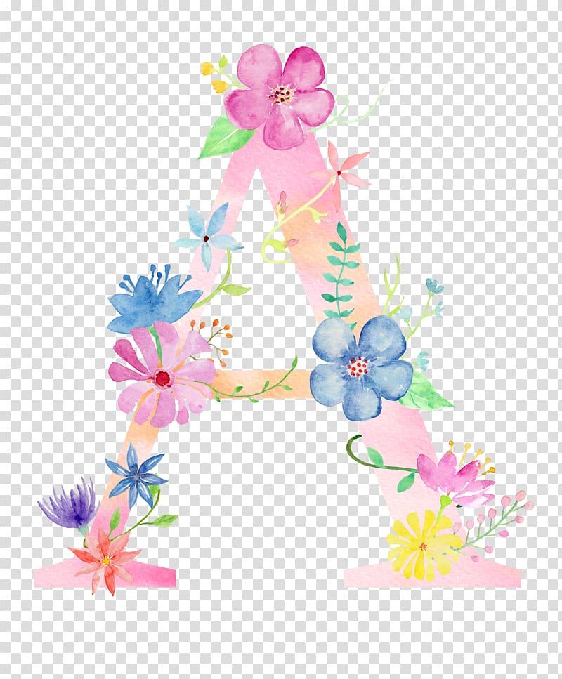 ilustração de flores, Carta aquarela pintura Poster, letra de flores A PNG clipart