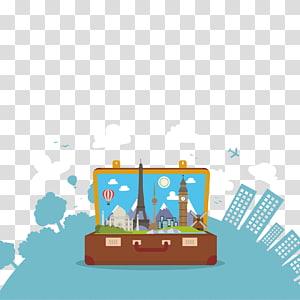 ilustração de mala marrom, turismo Cartoon Travel Illustration, material de turismo global PNG clipart