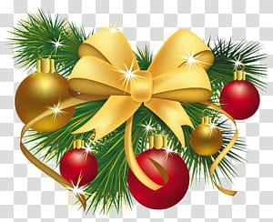 Decoração de natal Enfeite de natal Presente, decoração de natal, enfeites dourados, azuis e verdes e arte digital com sotaque do arco png