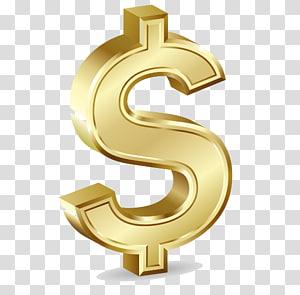 ilustração de ouro $, cifrão Símbolo de moeda de ouro, dólar de ouro png