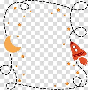 ilustração de lua e foguete, almofada travesseiro, elementos do espaço fronteiras simples PNG clipart