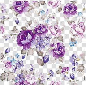 Teste padrão de papel do design floral da flor, flores roxas da aquarela material, poster floral roxo, azul e cinza PNG clipart