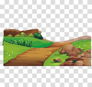 cenário de ilustração de campo simples, Adobe Illustrator Illustration, ilustração de cena de estrada agrícola png