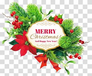 guirlanda de poinsétia verde e vermelha com ilustração de texto feliz Natal, decoração de Natal, ano novo, decoração de feliz Natal png