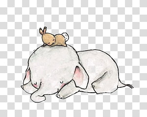 Arte infantil Pintura em aquarela Elefante, elefante, coelho dormindo no elefante png