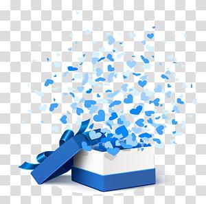 Papel da caixa de presente, caixa de presente azul, captura de tela branca e azul da caixa de presente png