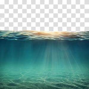 Oceano subaquático, água sob o sol, corpo de água PNG clipart