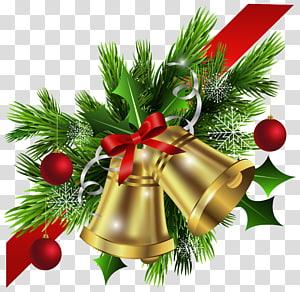 Ilustração de visco e sino de Natal, decoração de Natal, laço vermelho de Natal e canto de sinos PNG clipart