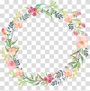 ilustração de grinalda floral rosa, grinalda de flores em aquarela, floral PNG clipart
