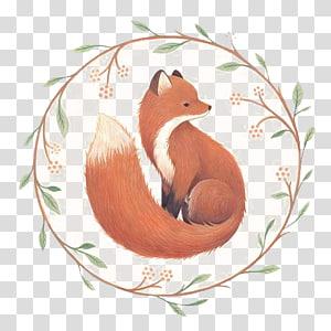 Ilustração de raposa laranja, Fox On Main Drawing Illustration, Fox pintado à mão png