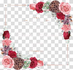 Rosas de jardim flor euclidiana, fronteira de flores, cartão de convite de casamento png