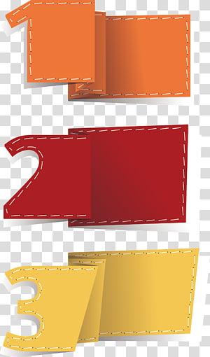três papéis dobráveis numéricos laranja, amarelo e vermelho, caixa de texto Elemento euclidiano, Caixa de texto png