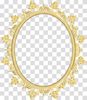 Armação de óculos leve Lente, Armação de borda decorativa oval, moldura floral amarela png