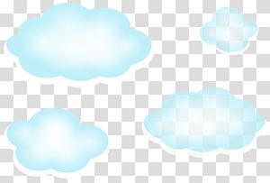 Nuvem de céu azul, nuvens, quatro nuvens azuis PNG clipart