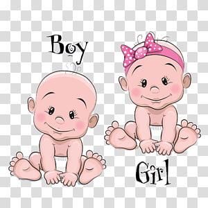 Ilustração infantil dos desenhos animados, Cartoon bebê masculino e feminino bebê, arte gráfica de dois bebês PNG clipart