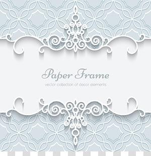 Convite de casamento de papel laço ornamento, cartão de padrão de borda de renda branca, anúncio de moldura de papel PNG clipart