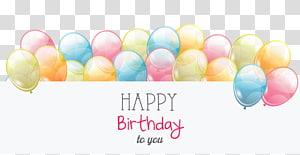balões com feliz aniversário para você Saudações, cartão de aniversário balão, banner de balões de cor PNG clipart