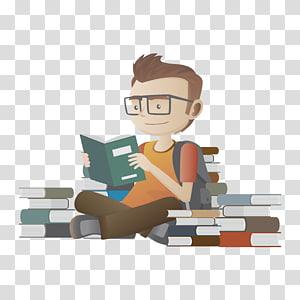 menino ler livros, estudante College Gandhi Instituto de engenharia e tecnologia da escola de educação, sentado na pilha de livros alunos PNG clipart