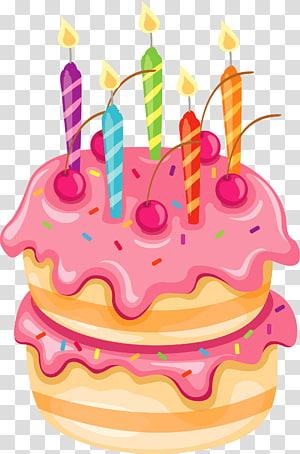 Bolo de aniversário Bolo de casamento, bolo rosa com velas, ilustração de bolo de aniversário png