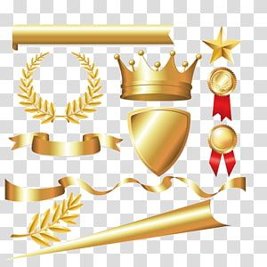 espada de ouro, escudo, medalhas, estrela, ilustração de fita, coroa de louros coroa louro euclidiano, material metálico, ouro tirano, coroa imperial, coroa imperial, fita colorida, etiqueta PNG clipart