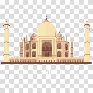 Ilustração do Taj Majal, Taj Mahal Landmark Illustration, Taj Mahal PNG clipart