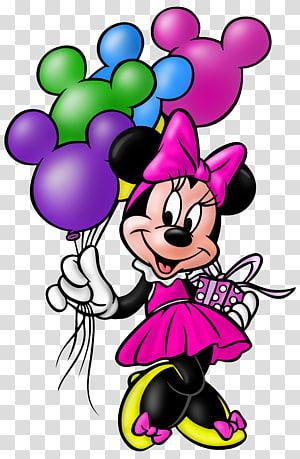 Minnie Mouse segurando a ilustração do balão, Minnie Mouse Mickey Mouse Pluto Aniversário do Pato Donald, Minnie Mouse PNG clipart