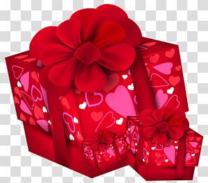 duas caixas de presente vermelho, presente de Natal dia dos namorados, caixas de presente de dia dos namorados png