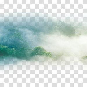 aérea de árvores nevoentas durante o dia, céu verde, nuvens PNG clipart