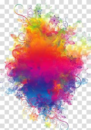 Fumaça colorida, floral de cores variadas e fumaça PNG clipart