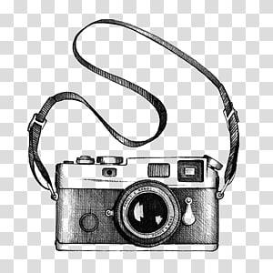 ilustração de câmera preto e cinza, desenho de câmera, câmera PNG clipart